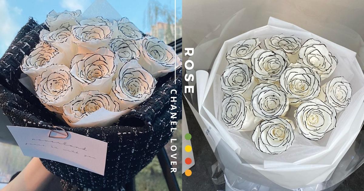 仙女專屬♡ 低調貴氣「香奈兒風」玫瑰花束太浪漫 最適合有品味且光芒四射的妳!