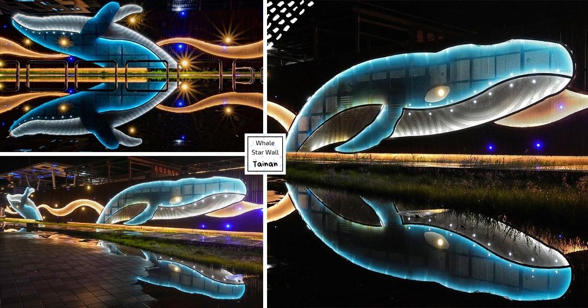【台南】陸地上的巨大鯨魚! 安平必朝聖「大魚星空牆」 雨後點燈「一分為二」太夢幻